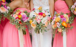 свадебные, подружки, букеты, цветы, платье, невеста