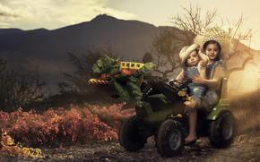 tractor, children, harvest, vegetables