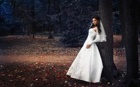 невеста, парк, свадьба, платье, стиль