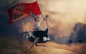 flaga, Slogan, pustynia, Struś, muzhik