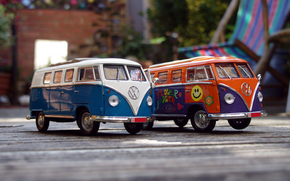 blur, car, toy, Macro, orange and purple, machine, white and blue, cars, Car, bokeh, Volkswagen