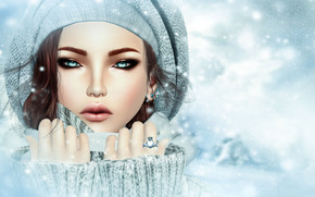 cold, view, Cap, winter, face, girl, Rendering