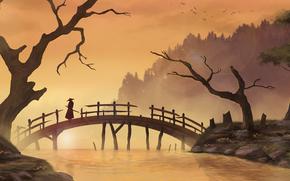 ponte, Asia, alberi, samurai, fiume, Art, uomo