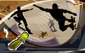 vector, wallpaper, videos, abstraction, entertainment, skateboard, recreation, silhouette, board