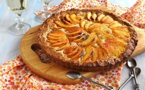 pie, baking, pone, dessert, peaches, Spoon, food