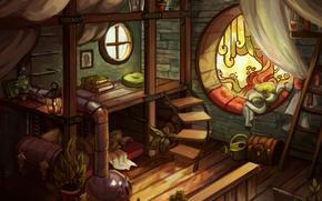 habitación, ventana, escalera, pecho, tabla, Arte, Libros