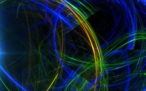 фрактал, цвет, лучи, свет, узор, линии