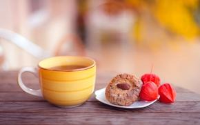 秋, クッキー, アーモンド, ベーキング, カップ, 茶, テーブル, 黄色