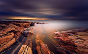 TEXTURE, stones, Sweden, lake, exposure, CLOUDS
