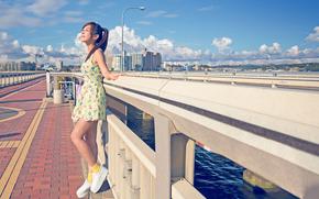 vestire, ragazza, estate, città, sole