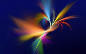 лучи, свет, линии, узор, фрактал, цвет