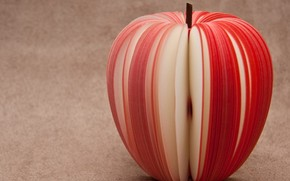 thin stripes, sliced, red, apple, slices