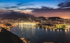 Рио-де-Жанейро, небо, вечер, панорама, город, закат, вид, бухта, гуанабара, огни, залив, облака, освещение, Бразилия