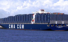 berth, blue, cargo, board, Container, ship, Other machinery and equipment, sea, clouds