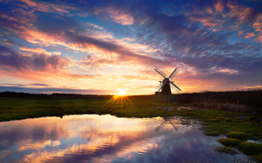 reflection, sky, evening, lake, water, sunset, mill, sun