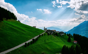 domestico, nuvole, Montagne, prati, cielo, versante
