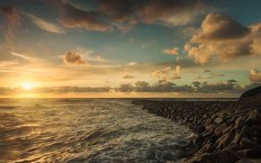 sun, mol, beach, sea
