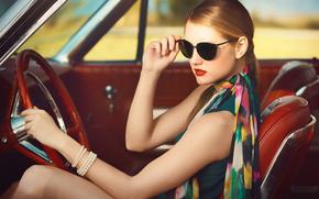 gafas, coche, chica, pulsera, salón