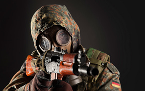 mask, soldier, automatic, man, background, weapon