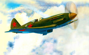flight, aviation, drawing, wings, clouds, Art, plane, sky, fighter, Day, ussr