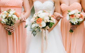 букеты, свадебные, подружки, цветы, невеста, платье