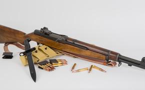 оружие, фон, патроны, самозарядная, винтовка, штык-нож