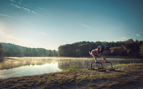athlete, morning, lake, fog