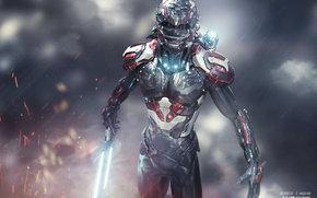 suit, warrior, sword, Sparks