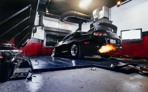 fuoco, macchina, garage, scarico, Toyota, Car