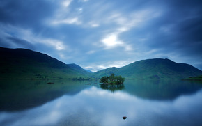 England, before dawn, CLOUDS, morning, sky, water, United Kingdom, smooth surface, lake, reflection, Hills