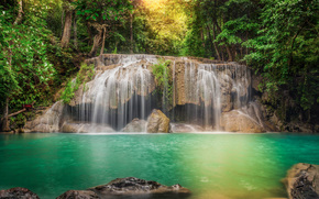 trees, processing, Thailand, FLOW, cascade, stones, jungle, waterfall, forest, river