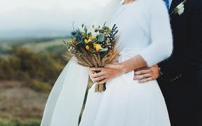 свадебный, платье, букет, жених, невеста, руки