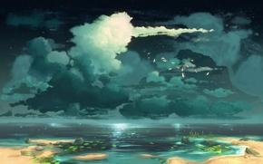 lago, nubes, Arte, pájaros, paisaje pintado
