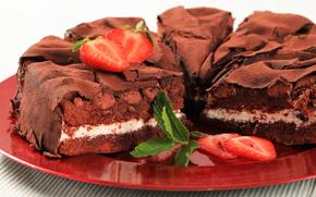 cake, sweet, chocolate, baking, pie, strawberries, dessert