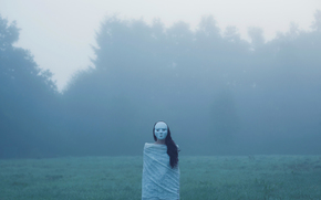 las, rysunek, pole, mgła, niesamowitość, maska