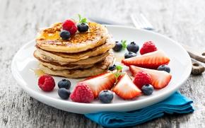 raspberries, Pancakes, fritters, BERRY, strawberries, blueberries, Pancakes, honey, food, honey, plate