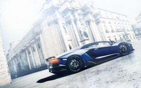 Lamborghini, Gran Turismo, Aventador, azul, perfil