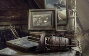 L?mpada, espelho, velho, poeira, foto