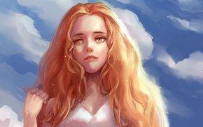 небо, рыжие, живопись, взгляд, арт, облака, девушка, волосы, рука
