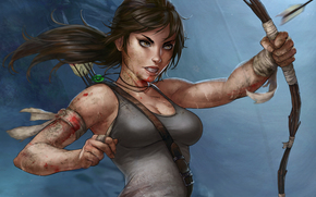 onions, wound, weapon, Art, blood, dressing, T-shirt, arrow, Lara Croft, face, tail