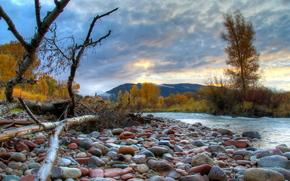 石头, 秋, 山, 树, 河, 云, 天空