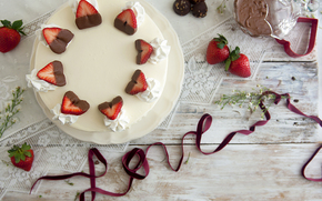 cake, holiday, food, dessert, cake, chocolate, cream, sweet, cheesecake, strawberries, love, BERRY, tape