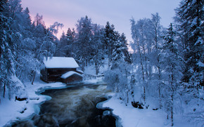sunset, winter, river, trees, cabin, landscape
