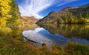 秋, 湖, 山脈, 木, 風景