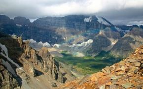 горы, радуга, вид с верху, пейзаж