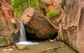 槽峡谷, 犹他州西南, 岩石, 瀑布, 景观