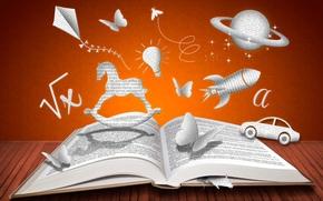 aquilone, razzo, lampadina, cavallo, Pagina, pianeta, Creatività, farfalla, figure, topo, libro