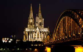 light, city, Cologne, church, Rhine, Cologne Cathedral, night, Germany, bridge, river