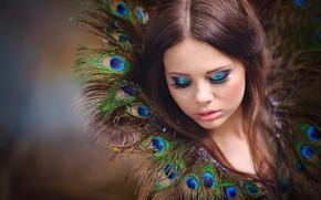 перья, макияж, портрет