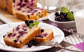 сладкое, торт, еда, чашка, пирожное, фрукты, черная смородина, десерт, молоко